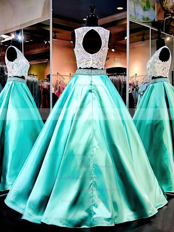 Ball Gown Scoop Neck Lace Satin with Beading Floor-length Two Piece Boutique Prom Dresses #PDS020103329
