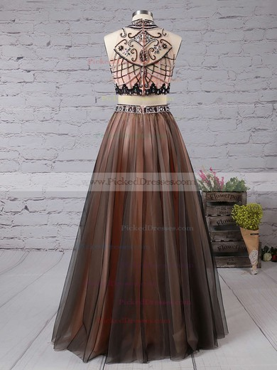 Princess High Neck Satin Tulle with Beading Floor-length Two Piece Discounted Prom Dresses #PDS020103331