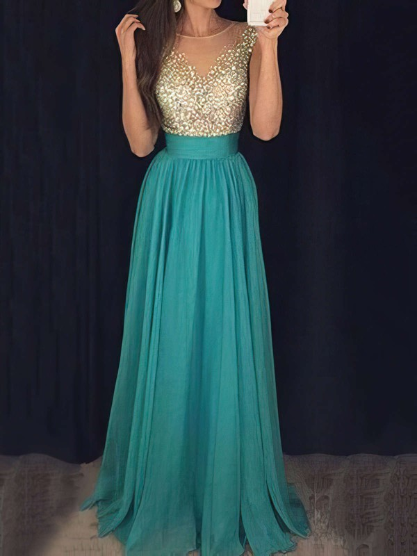 Glamorous A-line Scoop Neck Chiffon Tulle with Beading Floor-length Long Prom Dresses #PDS020103434
