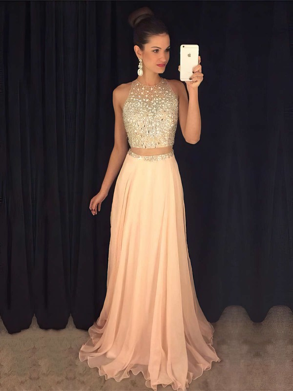 A-line Scoop Neck Chiffon Tulle with Beading Sweep Train Two Piece Prom Dresses #PDS020103435