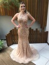 Sparkly Trumpet/Mermaid Halter Tulle Crystal Detailing Sweep Train Backless Prom Dresses #PDS020103455