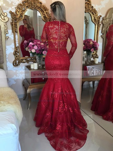 Latest Trumpet/Mermaid V-neck Red Tulle Appliques Lace Sweep Train Long Sleeve Prom Dresses #PDS020103463