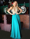 A-line Scoop Neck Chiffon Tulle with Beading Floor-length Modern Long Prom Dresses #PDS020103464
