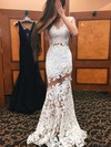 Newest Trumpet/Mermaid Scoop Neck Ivory Tulle Appliques Lace Sweep Train Open Back Prom Dresses #PDS020103500