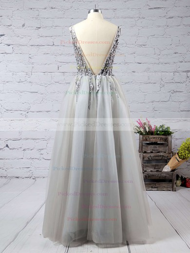 Exclusive Princess V-neck Tulle with Beading Floor-length Backless Prom Dresses #PDS020103505