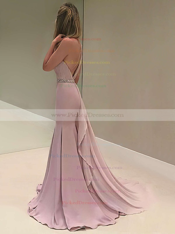 One Shoulder Trumpet/Mermaid Chiffon Beading Sweep Train Backless Elegant Prom Dresses #PDS020103518