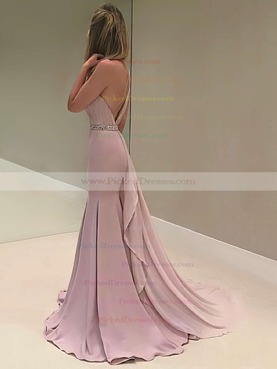 One Shoulder Trumpet/Mermaid Chiffon Beading Sweep Train Backless Elegant Prom Dresses #PDS020103518
