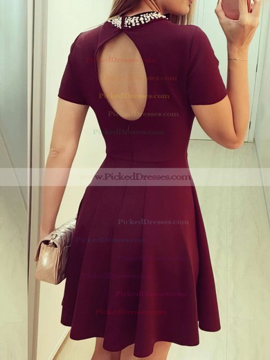 Modern Open Back A-line Scoop Neck Satin Beading Short/Mini Short Sleeve Prom Dresses #PDS020103523