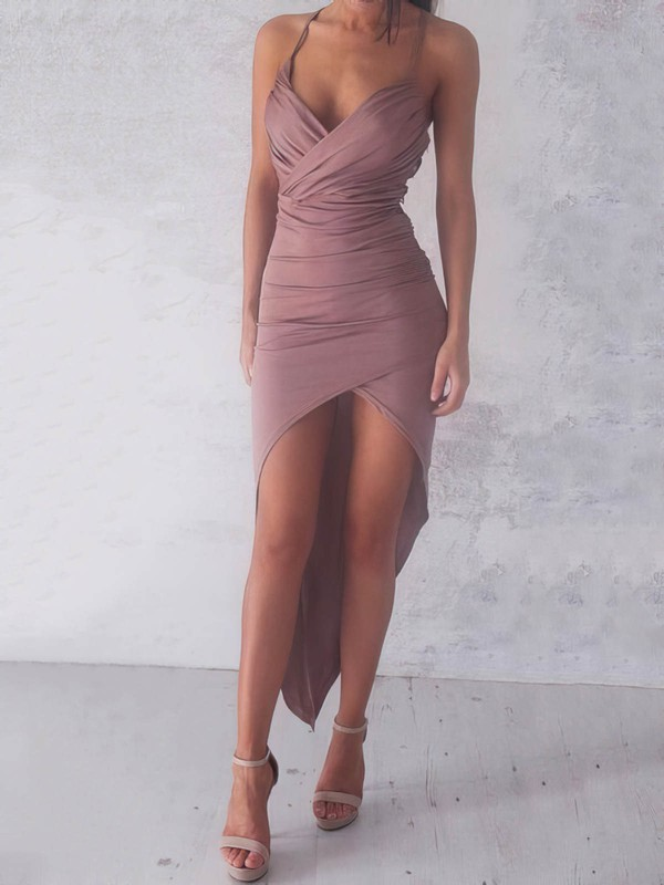 Hot V-neck Sheath/Column Jersey with Ruffles Asymmetrical Prom Dresses #PDS020103524