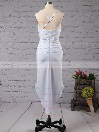 Hot V-neck Sheath/Column Jersey with Ruffles Asymmetrical Prom Dresses #PDS020103524