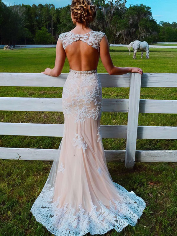 Pretty Champagne Trumpet/Mermaid Scoop Neck Tulle Appliques Lace Sweep Train Open Back Prom Dresses #PDS020103546