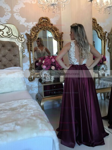 New V-neck A-line Satin with Appliques Lace Floor-length Prom Dresses #PDS020103548