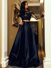 Two Piece A-line Scoop Neck Black Satin Tulle Appliques Lace Floor-length Long Sleeve New Prom Dresses #PDS020103569