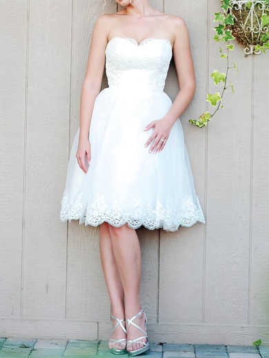 Best White Organza Lace Lace-up Sweetheart Knee-length Wedding Dress #PDS00020476