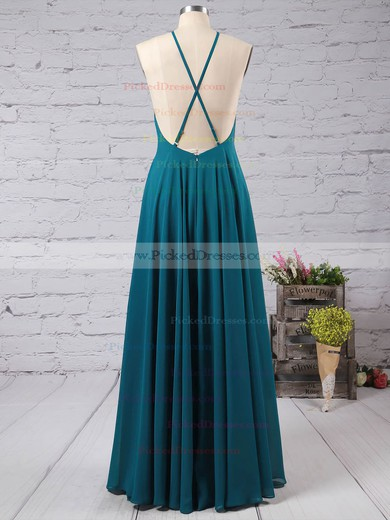 Simple A-line Square Neckline Chiffon with Ruffles Floor-length Backless Prom Dresses #PDS020103581