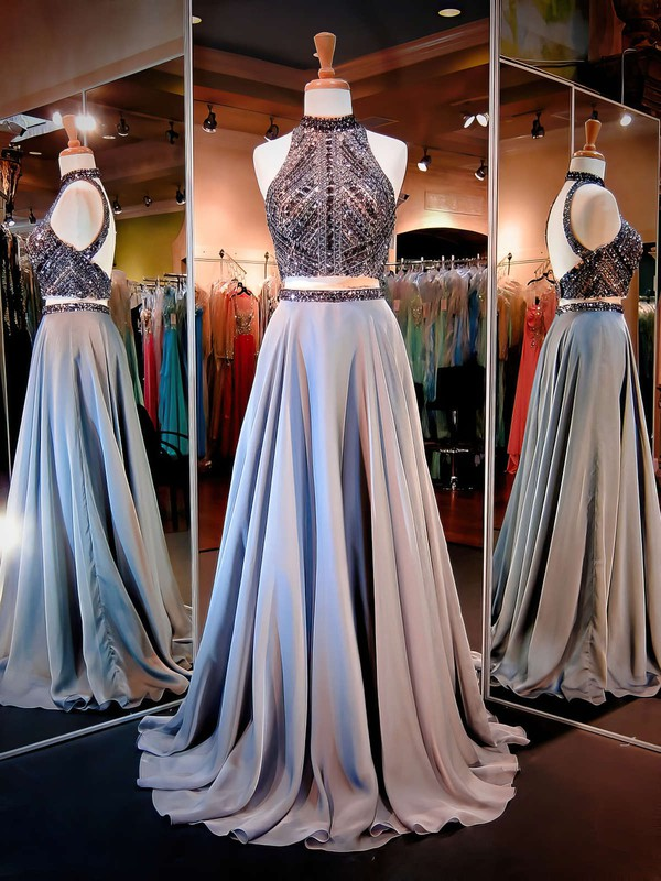 Two Piece A-line High Neck Chiffon Beading Sweep Train Open Back Stunning Prom Dresses #PDS020103591