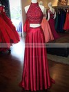 Two Piece A-line High Neck Split Front Sweep Train Open Back Latest Prom Dresses #PDS020103602