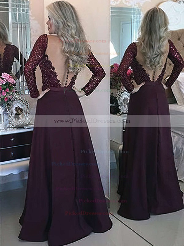 New Arrival A-line Scoop Neck Chiffon Tulle with Appliques Lace Floor-length Long Sleeve Prom Dresses #PDS020103603
