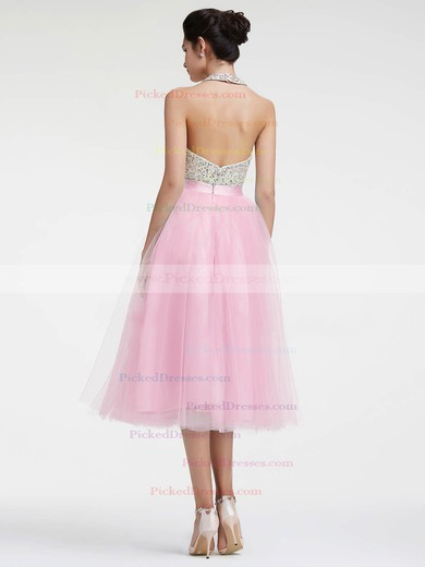 Tea-length A-line Halter Tulle with Sequins Backless Pretty Prom Dresses #PDS020103608