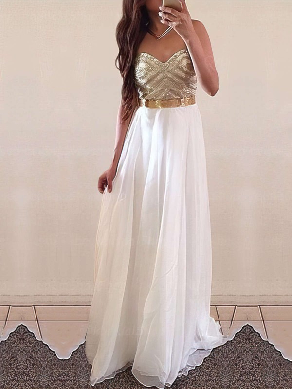 Perfect A-line Sweetheart White Chiffon with Floor-length Prom Dresses #PDS020103621