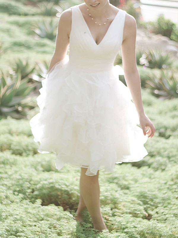 Cute Ball Gown White Organza Ruffles Knee-length Wedding Dresses #PDS00020477