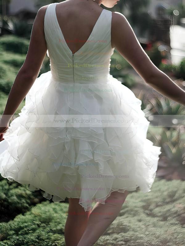 Cute Ball Gown White Organza Ruffles Knee-length Wedding Dresses #PDS00020477