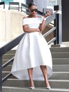 Princess Off-the-shoulder White Satin Ruffles Asymmetrical Unusual Prom Dresses #PDS020103627