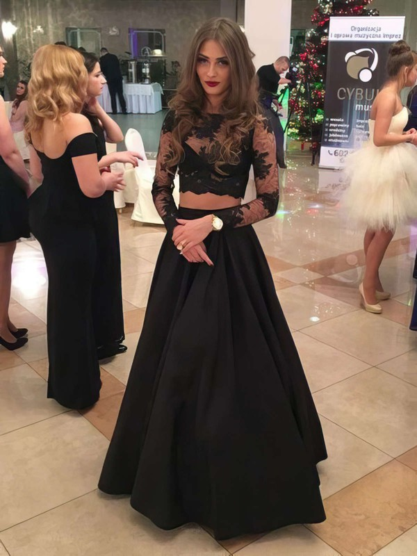 New Two Piece A-line Scoop Neck Black Satin Tulle Appliques Lace Floor-length Long Sleeve Prom Dresses #PDS020103632