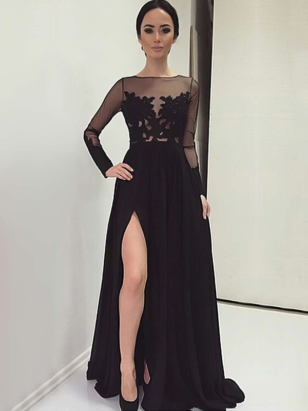 Black A-line Scoop Neck Chiffon Tulle Appliques Lace Sweep Train Long Sleeve Unique Prom Dresses #PDS020103633