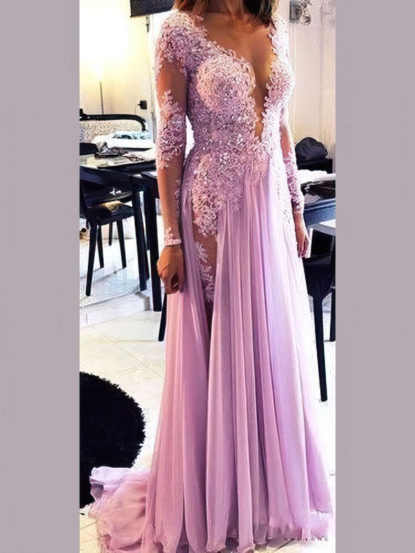 A-line Scoop Neck Chiffon Tulle with Appliques Lace Sweep Train Long Sleeve Sexy Prom Dresses #PDS020103641