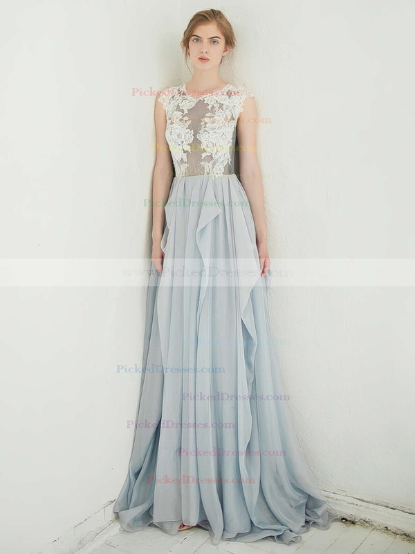 Glamorous A-line Scoop Neck Lace Chiffon with Appliques Lace Sweep Train Prom Dresses #PDS020103643
