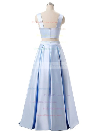 A-line V-neck Satin with Ruffles Floor-length Blue Two Piece Different Prom Dresses #PDS020103649