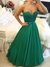 Elegant Princess Scoop Neck Satin Tulle with Floor-length Prom Dresses #PDS020103654