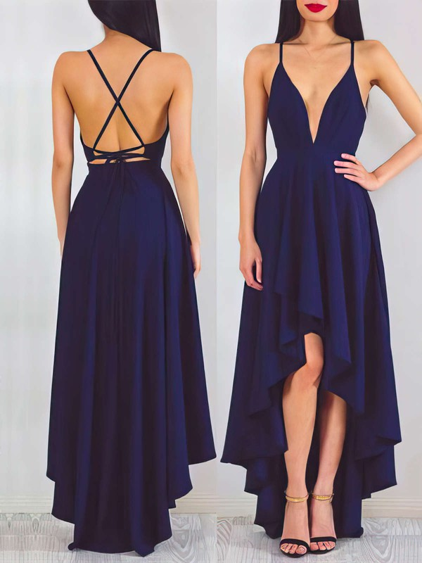 Casual Asymmetrical A-line V-neck Chiffon with Ruffles Backless Prom Dresses #PDS020103670