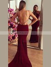 Trumpet/Mermaid V-neck Jersey with Ruffles Court Train Backless Hot Prom Dresses #PDS020103672