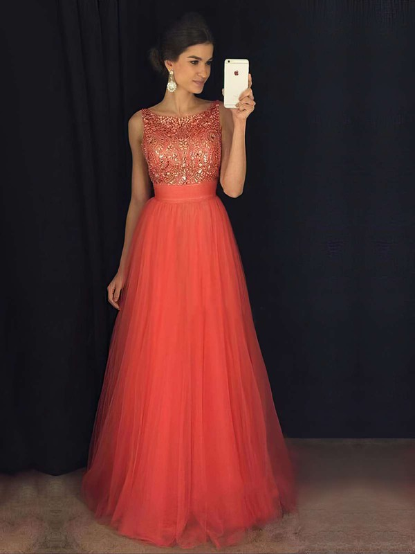 Glamorous A-line Scoop Neck Tulle with Beading Floor-length Backless Prom Dresses #PDS020103678