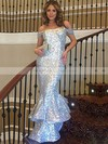 Trumpet/Mermaid Silver Sequined with Ruffles Floor-length Sparkly Off-the-shoulder Prom Dresses #PDS020103688