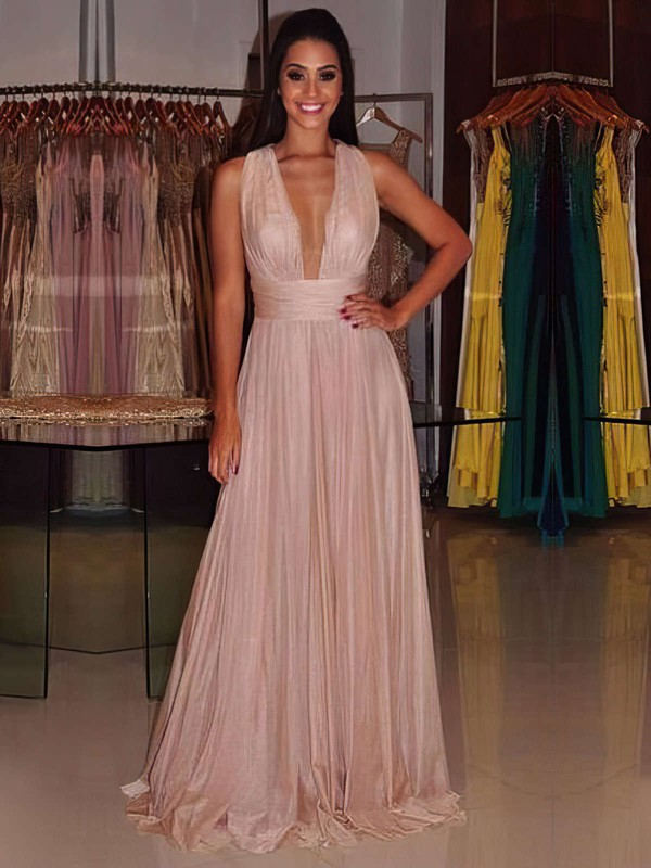 A-line V-neck Chiffon with Ruffles Floor-length Open Back Amazing Prom Dresses #PDS020103692