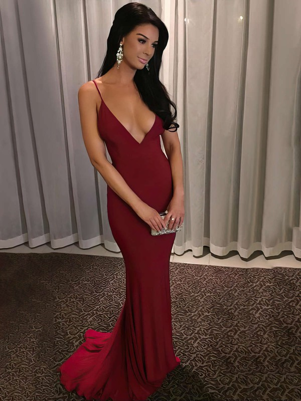Sheath/Column V-neck Ruffles Jersey Sweep Train Burgundy Backless Hot Prom Dresses #PDS020103703