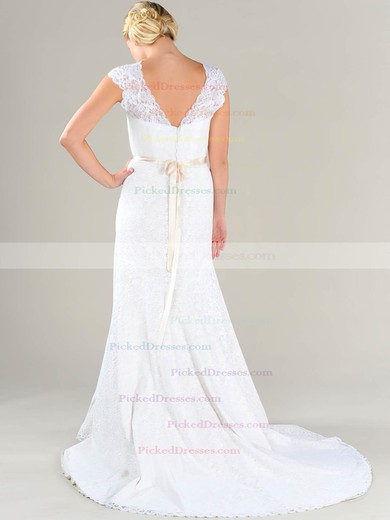 Scalloped Neck White Lace Sashes/Ribbons Cap Straps Sheath/Column Wedding Dresses #PDS00020479