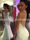 New Arrival Trumpet/Mermaid Tulle with Pearl Detailing Sweep Train High Neck Prom Dresses #PDS020103704