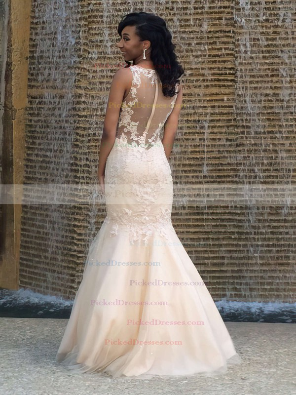 Perfect Scoop Neck Ivory Tulle with Appliques Lace Floor-length Trumpet/Mermaid Prom Dresses #PDS020103706