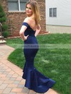 Dark Navy Asymmetrical Trumpet/Mermaid Off-the-shoulder Satin Backless Prom Dresses #PDS020103720