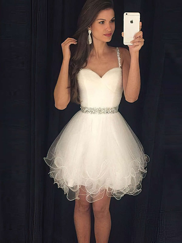 Ivory A-line Sweetheart Tulle with Beading Short/Mini Cute Prom Dresses #PDS020103722