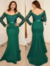 Trumpet/Mermaid Off-the-shoulder with Appliques Lace Sweep Train Long Sleeve Boutique Prom Dresses #PDS020103731
