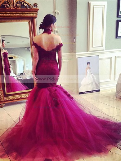 Popular Trumpet/Mermaid Off-the-shoulder Tulle Appliques Lace Sweep Train Burgundy Backless Prom Dresses #PDS020103736