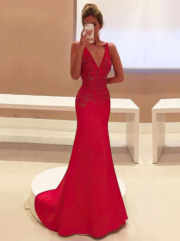 Red Trumpet/Mermaid V-neck with Appliques Lace Sweep Train Popular Prom Dresses #PDS020103760