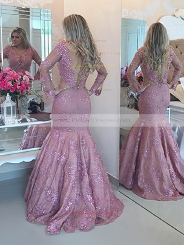 Perfect Scoop Neck Trumpet/Mermaid Tulle with Beading Sweep Train Long Sleeve Prom Dresses #PDS020103761
