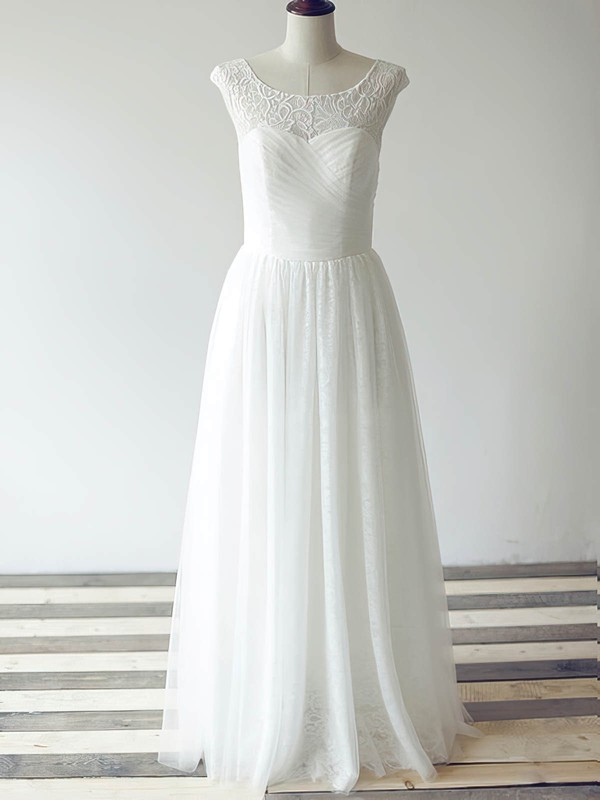 White Tulle Lace Scoop Neck with Ruffles Cap Straps Popular Wedding Dress #PDS00020480