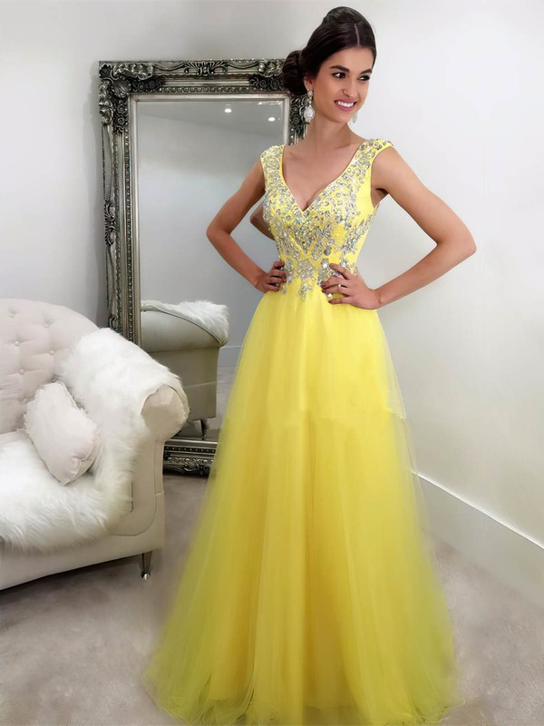 New Style A-line V-neck Tulle with Beading Floor-length Yellow Long Prom Dresses #PDS020103762